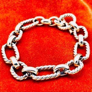 David Yurman Silver Chain Bracelet w Blue Topz